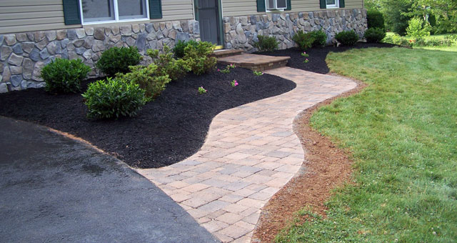 Paver walkways and paths provide safe footing.